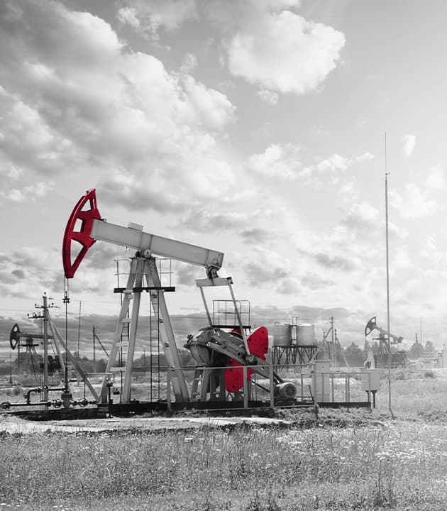 Vertical view on oil and gas equipment